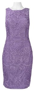 Sue Wong Sleeveless Embroidered Mesh Sheath Dress
