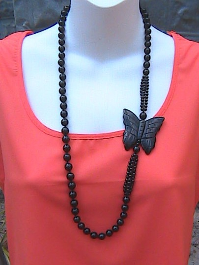 Other Black Onyx Hand Knotted Carved Butterfly Necklace