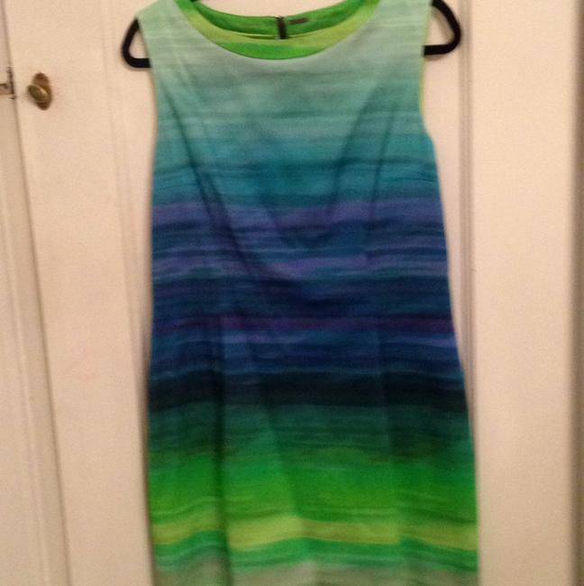Elie Tahari short dress blue/ Green/ purple stripe on Tradesy