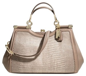 Coach Madison Pinnacle Carrie Lizard Satchel in Fawn