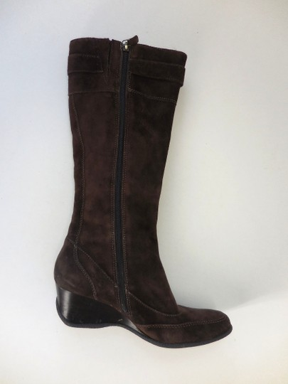 Circa Joan & David Leather Low Zip Wedge Brown Boots