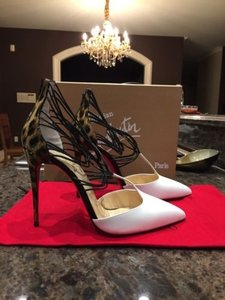 Christian Louboutin Leopard Black Confusa White Pumps