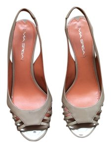 Via Spiga Patent Leather Slingback Heel Open Toe 3 Inch Heel Nude Pumps