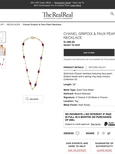 Chanel CHANEL RARE VINTAGE SEASON 23 GRIPOIX and PEARL NECKLACE