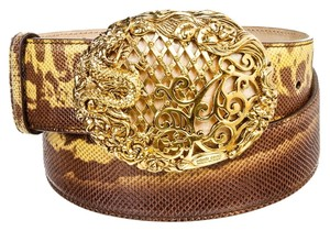 Roberto Cavalli Roberto Cavalli Brown Multicolor Lizard Gold Dragon Buckle Belt (Size 85)