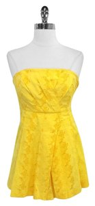Tracy Reese Floral Eyelet Cotton Top Yellow