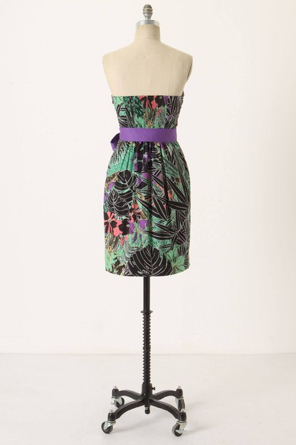 Anthropologie short dress Multi-color Cotton Jungle Energy Strapless Spandex on Tradesy