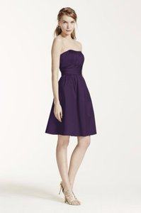David's Bridal Purple 83312 Cotton Sateen Strapless Dress