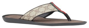 Gucci Mens Gg Plus Thong Flip Flop W/Signature Beige/Ebony Sandals