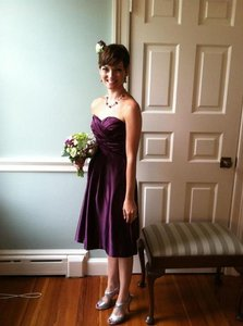 Bill Levkoff Purple Satin 586 Formal Bridesmaid/Mob Dress Size 0 (XS)
