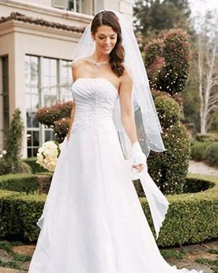 Preload https://item3.tradesy.com/images/david-s-bridal-white-chiffon-strapless-a-gown-with-lace-up-back-ne-feminine-wedding-dress-size-4-s-50122-0-0.jpg?width=440&height=440