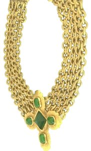 Chanel Chanel Vintage Green Gripoix And Gold Byzantyne Necklace