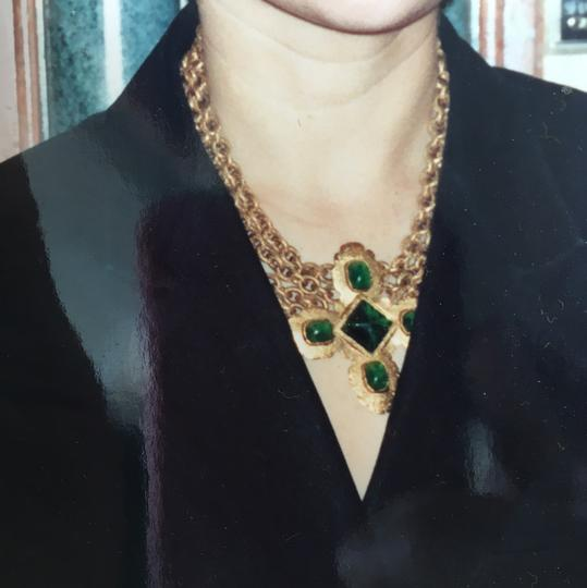 Chanel Chanel Vintage Green Gripoix And Gold Byzantine Necklace