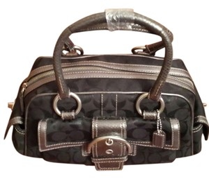 Coach Satchel in Silver/BlackMetallic