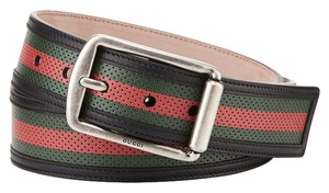 Gucci Signature Web Perforated Leather Belt- 34 inches