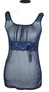 Maurices Tank Lace Trim Mesh Navy Top navy, midnight blue, dark blue