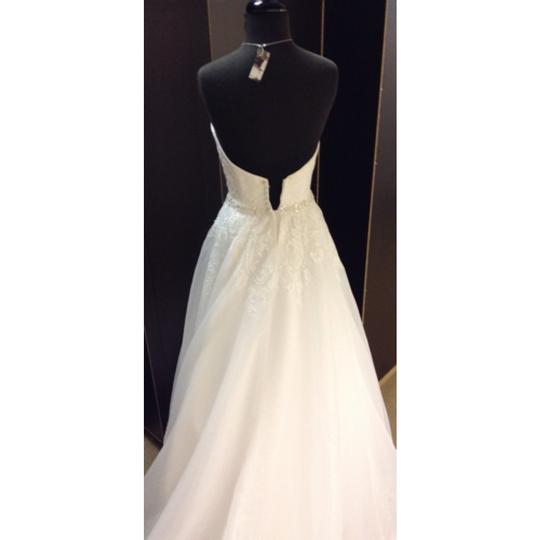 Maggie Sottero White Lace & Tulle Formal Wedding Dress Size 4 (S)