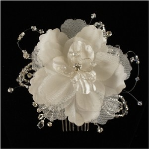 Ivory/Rhodium Plate White Flower Fabric Crystal Comb Hair Accessory