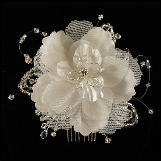 Preload https://item5.tradesy.com/images/ivoryrhodium-plate-white-flower-fabric-crystal-comb-hair-accessory-50159-0-0.jpg?width=440&height=440