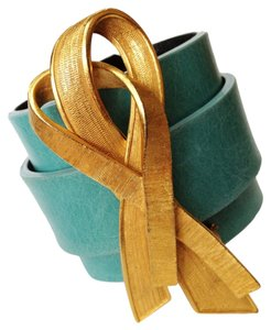 Escada Modernist Escada Ribbon Pin on Leather Cuff Bracelet