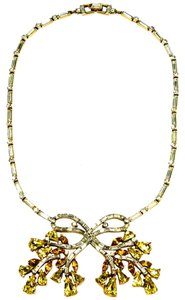 Trifari Trifari Retro 1940s Crystal Bow Necklace
