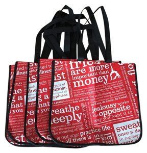 Lululemon Lulu Large 5 Eco Reusable Gym Manifesto Tote in red