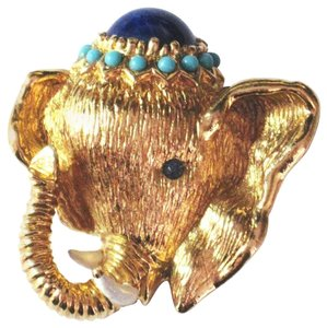 Panetta Panetta Golden Elephant Brooch Pin C1950s