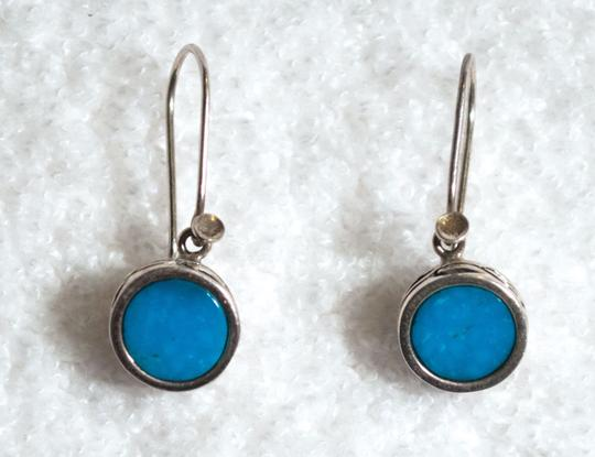 Other Sterling Silver 925 & Turquoise Hand Crafted Carved Drop Earrings