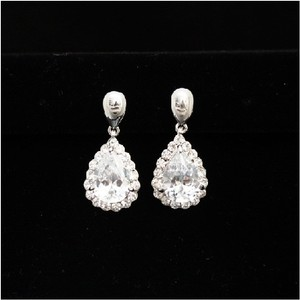 Silver/White Gold Vintage Cz Earrings