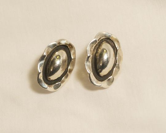 Other Vintage TAXCO MEXICO STERLING SILVER CRIMPED FRAME OVAL 8gr MODERN ABSTRACT EARRINGS