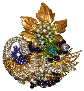 Stanley Hagler Stanley Hagler Swan and Flower Brooch Pin