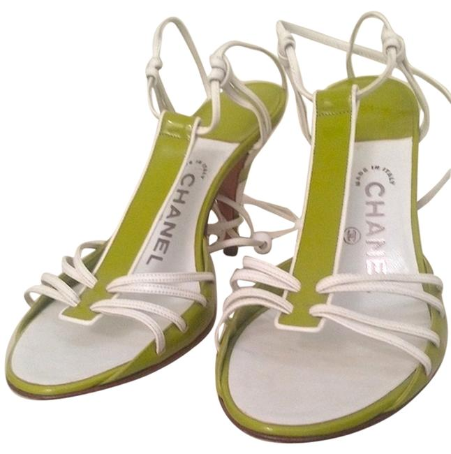 Item - White Apple Green L ** Reserved For S. L. ** Ankle Wrap Heels In Excellent Condition Sandals Size US 9 Regular (M, B)