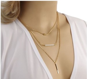 Multi-layered Vertical Gold bar chain coin Pearl Beads bohemian charm Jewelry Beaded Necklace/Simple delicate gold bar necklace