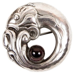 Georg Jensen Georg Jensen Fish Sterling Silver Garnet Brooch Pin