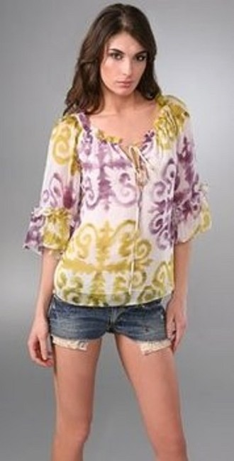 MILLY Ruffle Top PURPLE GREEN