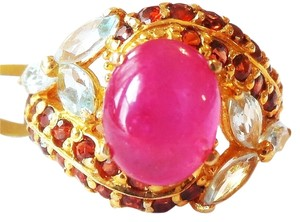 Beautiful Red Ruby, Topaz and Mozambique Garnet Ring Size 6.5