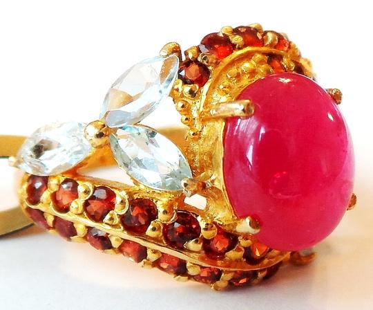 Other Beautiful Red Ruby, Topaz and Mozambique Garnet Ring Size 6.5