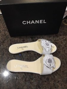 Chanel 15c Crackle Flat White Sandals