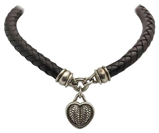 Barry Kieselstein-Cord Barry Kieselstein Cord Sterling Silver Heart and Braided Leather Necklace