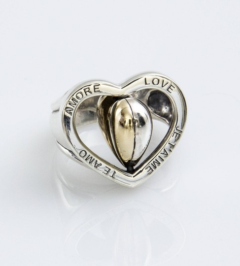 Barry Kieselstein-Cord Barry Kieselstein Cord Spinning Heart Love Ring Gold and Sterling Silver