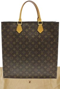 Louis Vuitton Auth Louis Vuitton Sac Plat Monogram Tote Bag Canvas Brown