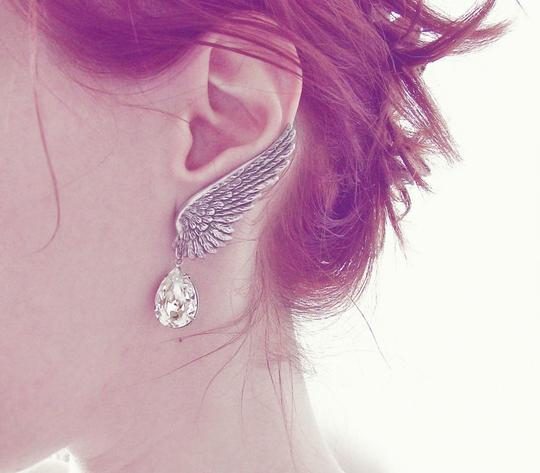 Clear/Sterling Silver Wing with Crystal Drops Handmade Earrings