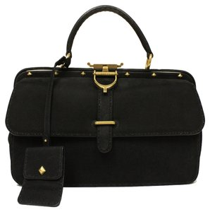 Gucci Suede Leather Doctor Satchel in Black