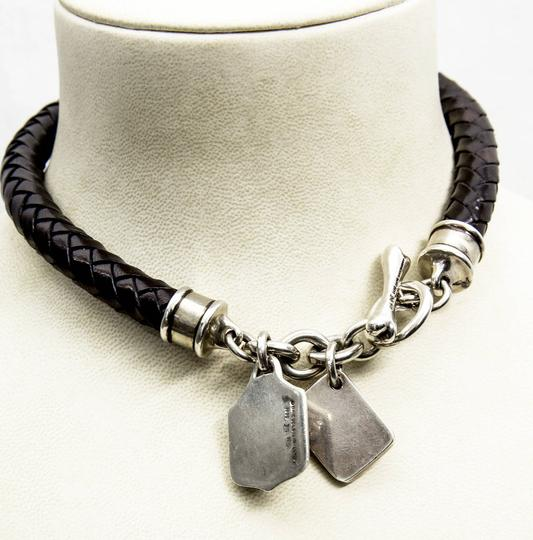 Barry Kieselstein-Cord Barry Kieselstein Cord Sterling Silver Woven Leather Dog Collar Toggle Necklace
