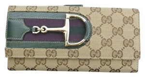 Gucci Gucci Monogram Hasler Continental Wallet/Clutch w/ Gold Horsebit & Green Leather