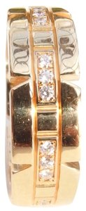 Cartier Auth. Cartier 18K Yellow Gold Francaise Tank Ring With Diamonds US 4.5 Or EU48 W/ Box And Cert.