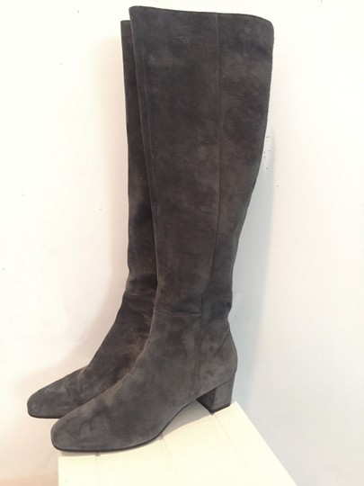 Gianvito Rossi Suede Low Heel Over The Knee New Gray Boots