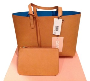 Mansur Gavriel Leather Italian Turquoise Wallet Tote in Cammello Azzurro