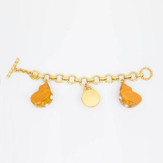 Dominique Aurientis Dominique Aurientis Paris Orange Enamel Faux Pearl Shell Charm Bracelet