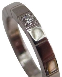 Cartier Auth. Cartier 18K White Gold Lanieres Ring W/ 1P Diamond US4.5 Or eU48